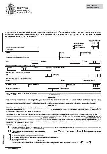Modelos contrato de trabajo indefinido para personas con for Modelo contrato indefinido